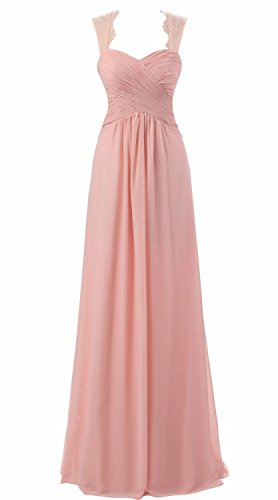Annie Cap s Gowns Lace Bridesmaid s Dresses Long Chiffon Evening Bridal Blush Sleeve Women rrqXAw