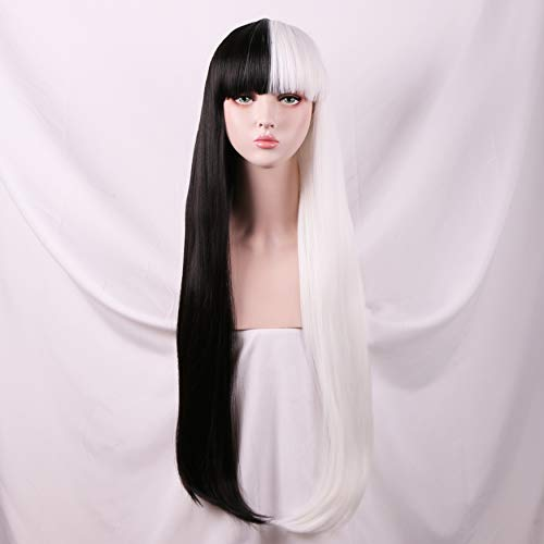 Yilys Women's Long Straight Half white Half Black Wig With Bangs Halloween Cosplay Party Hair(about 32Inch) ()