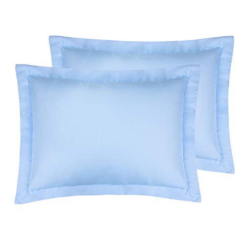 FLXXIE Standard Shams, Pillowcases, Pack of 2, 100% Brushed Microfiber, Ultra Soft, Sky Blue