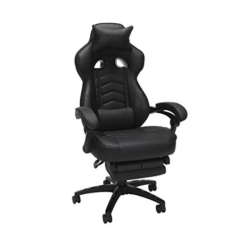 RESPAWN 110 Racing Style Gaming Chair, Reclining Ergonomic Leather Chair with Footrest, in Black (RSP-110-BLK), 28.50' D x 26.75' W x 48.50'-51.50' H