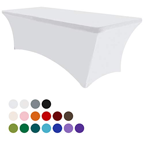 Eurmax 6Ft Rectangular Fitted Spandex Tablecloths Wedding Party Table Covers Event Stretchable Tablecloth (White) (Linen Tablecloth Chair Cover)
