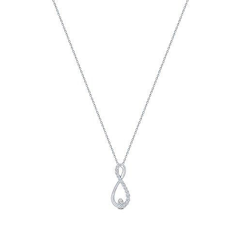 (La Joya 1/10 ct Round White Diamond Infinity Pendant in 10K White Gold Infinity Love Diamond Pendant Necklace for Teens Womens)