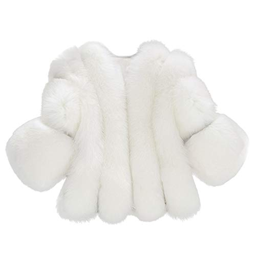 iYYVV Women Winter Warm Fashion Solid Jackets Short Stitching Button Faux Fur Coat White (Fur Trim Twill Coat)