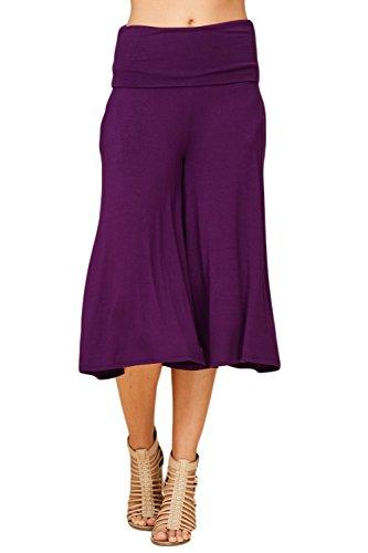 Annabelle Women's Fold Over Waist Wide Leg Culotte Gaucho Capri Pants Purple Anthra Large P9023 ()