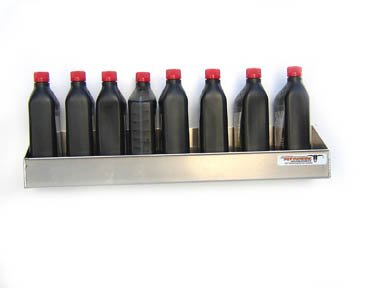 Pit Posse 564 8 Bottle Oil Shelf Caddy Aluminum Enclosed Race Trailer Shop Garage Storage Organizer