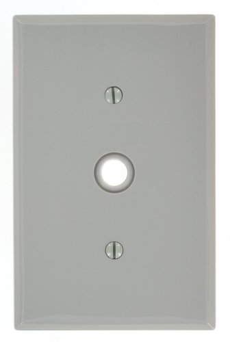 Leviton PJ11-GY 1-Gang .406-Inch Hole Telephone/Cable Wallplate, Midway size, Gray