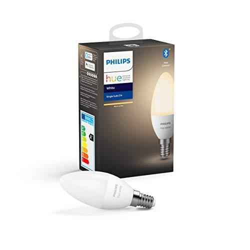 Philips Hue Kaarslamp 1-Pack – E14 – Duurzame LED Verlichting – Warmwit Licht – Dimbaar – Verbind met Bluetooth of Hue…