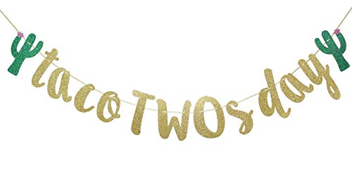 Taco TWOsday Gold Glitter Banner Sign Garland for Mexican Fiesta Birthday Party Decorations 2nd Birthday Supplies Cursive Bunting Photo Booth Props