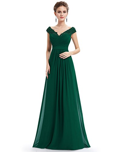 Gebluemt 08633 Lang Kleid Ever Ausschnitt Pretty Dunkelgrün Elegant V Party Lace Damen RgwYwvpqH
