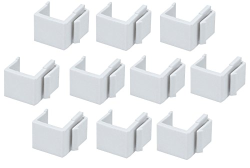 FYL 10pcs White Snap-in Keystone Faceplate Hole Blank Insert Filler for Wall Plate ()