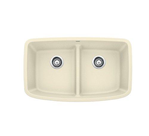 Biscuit Undermount Sink (Blanco 442201 Valea 2.0 Low Divide 32x19 Biscuit Valea 32 inch Equal Double Bowl Undermount Silgranit Kitchen Sink In Biscuit)