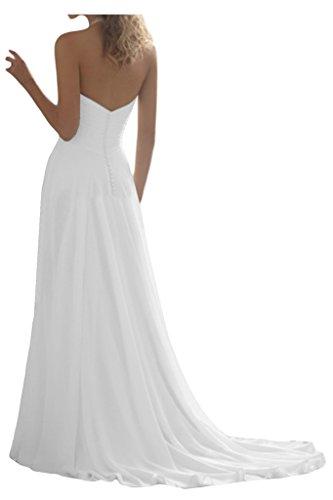 Linie Neckholder Chiffon Schleppe Brautkleider Hochzeitskleider Lang Weiß Ivydressing Damen Einfach A qZF660