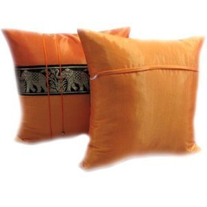 A pair of Beautiful Thai Silk Pillow Covers for decorate Living Room, Bed Room, Sofa, Car / Size 16 X 16 Inches Code 3041