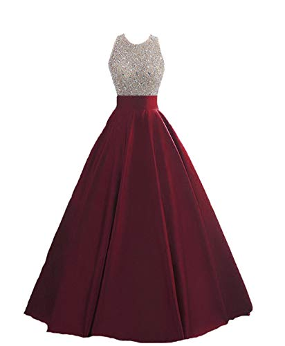 (HEIMO Women's Sequins Keyhole Back Evening Ball Gown Beaded Prom Formal Dresses Long H095 0 Burgundy)