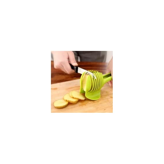 """Laytek Tomato Slicer, Multi-functional Handheld Tomato Round Slicer, Fruit Vegetable Cutter, Lemon Shredders Slicer, With the Special Hook 5 Material : ABS Mold Size :18.5 x 8 CM /7.3 """"X 3.1"""" Package Includes : 1 x HandHeld FruitS Round Slicer With this tomato slicer,you'll create perfect tomato slices everytime,This kind of fruit and vegetable slice assistant design novel, beautiful, bright color, easy to operate, safe and reliable. Add the tomato slicer along each gap from the top down the you could cut it into pieces"""