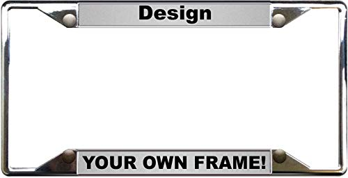 Custom Personalized 4 Hole Chrome Metal Car License Plate Frame with Free caps - Silver/Black -