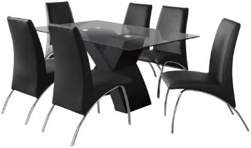 e375f2d3e Furniture of America Rivendale 7-Piece Modern Dining Table Set with 12mm Tempered  Glass Top