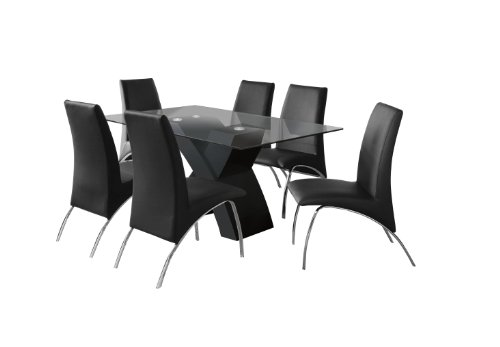 Furniture of America Rivendale 7-Piece Modern Dining Table Set with 12mm Tempered Glass Top, Black Finish
