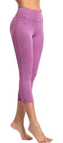 Oalka Women's Yoga Capris Power Flex Running Pants Workout Leggings Strip Berry XS (Strip Out)