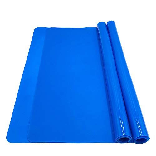 Silicone Baking Mats for Dough Rolling Pastry Fondant Mat Large Nonstick and Nonslip, Countertop Protector, Dining Table Mat and Placemat 20 by 16(Blue 2 Pack)