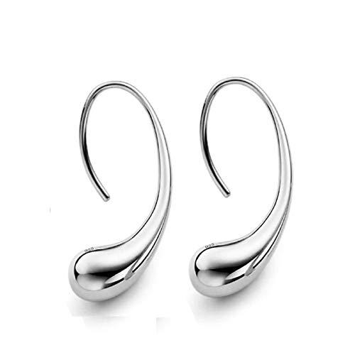 (nanzhushangmao 925 Sterling Silver Classic Fashion Design Thread Teardrop Back Drop Earrings Hoop Earrings Gift for Women (Silver))