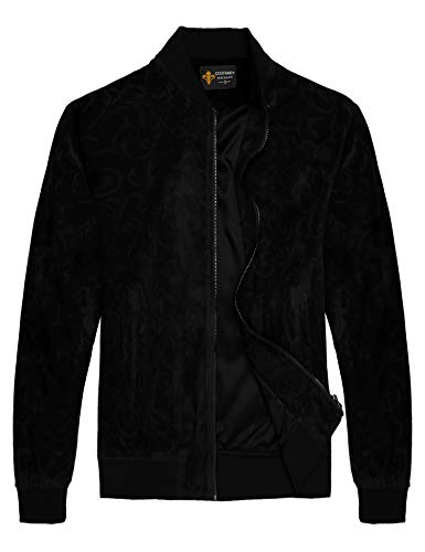 (COOFANDY Men's Floral Suede Bomber Leather Jacket Casual Varsity Baseball Coat,Black,Medium)