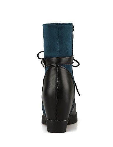 De 5 Xzz Uk Cn43 Eu42 Mujer Blue Puntiagudos negro La Tacón Vellón Casual 5 Eu35 us5 Semicuero Zapatos A Azul Cuña Moda Cn34 Cuñas Botas Uk8 Uk3 us10 Vestido Blue SSxw5Bq