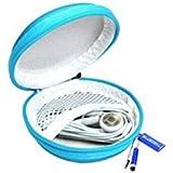 Bluecell Light Blue Color PU Leather Earphone Hard Case/bag