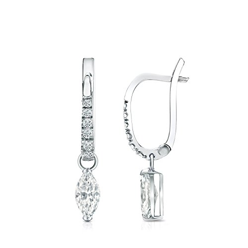 14k White Gold Dangle V-End Prong Marquise -cut Diamond Earrings (1/2 ct, G-H, SI1-SI2) -