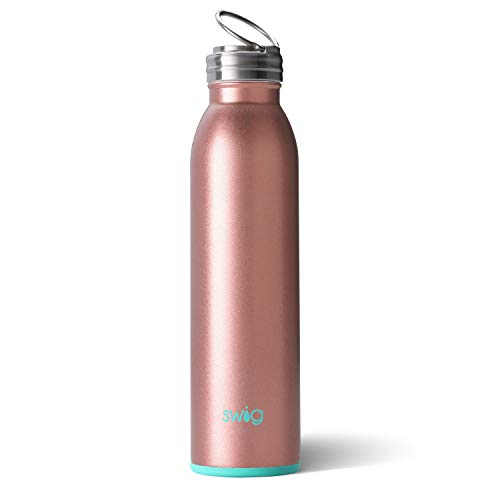 Swig Life Stainless Steel Signature 20oz Water Bottle with Screw-On Flip Ring Cap in Rose ()