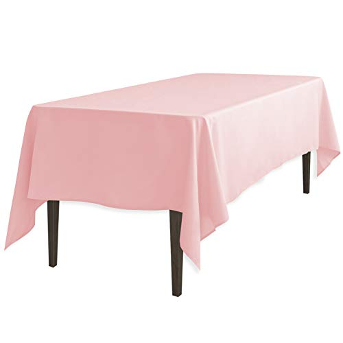 LinenTablecloth 60 x 102-Inch Rectangular Polyester Tablecloth Pink ()
