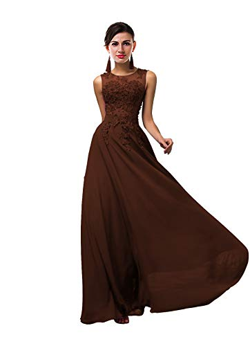 ThaliaDress Women Long Sheer Neck Evening Bridesmaid Dresses Prom Gowns T004LF Chocolate US8