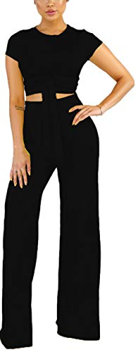 Yiershu Women's Casual Two Piece Business Suits Sexy Mock Neck Short Sleeve Loose Wide Leg Long Palazzo Pants Outfits Breathable Comfy See Thru Jumpsuits Bandage ()