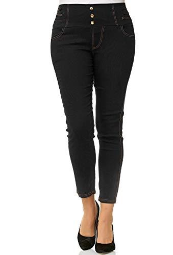 Jeans D2490 Vita Treggings Corsetti Donne Tubo Nero Dimensione Pantaloni Alta Plus Noname nZvxYwfqc