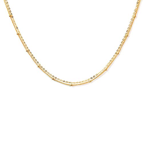 (BENIQUE Dainty Necklace Choker for Women - Freshwater Cultured Pearl, Fine Chain for Layering, AAA Cubic Zirconia Drop, 14K Gold Filled, Made in USA, 13