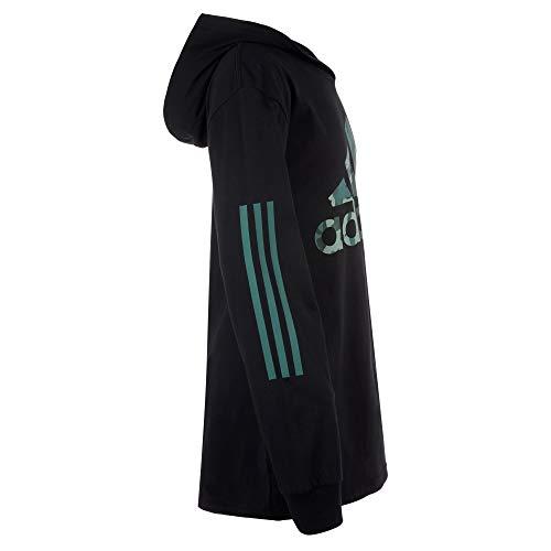 adidas Boys' Long Sleeve Cotton Jersey Hooded T-Shirt Tee, Black/Camo Green, Medium