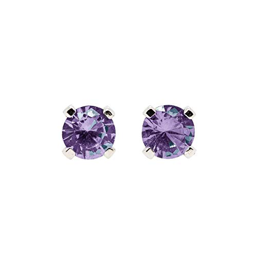 - 3mm Tiny Color Changing Light Purple to Green Alexandrite Gemstone Stud Earrings in Sterling Silver - June Birthstone