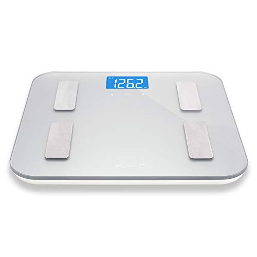 Digital Body Fat Weight Scale by Greatergoods, Accurate Health Metrics, Body Composition & Weight Measurements, Glass Top, with Large Backlit Display (Silver) (Calculate Lean Body Mass Body Fat Percentage)