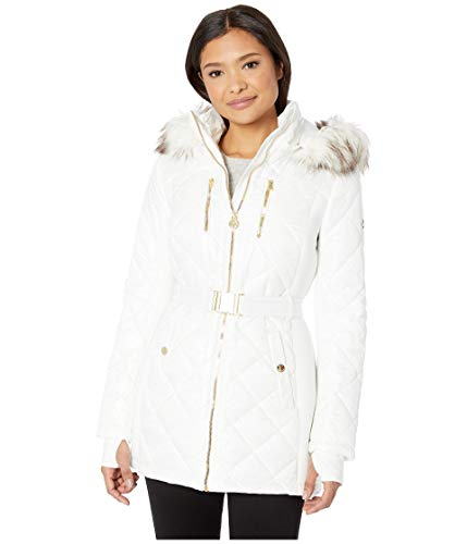 Michael Michael Kors Women's Zip Front Knit Poly Fill with Car Seat Belt A420617GZ White X-Large (Mk Down Jacket For Women)