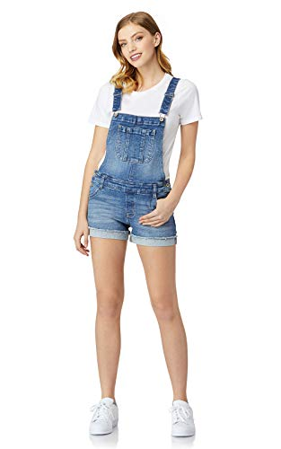 WallFlower Women's Juniors InstaVintage Denim Shortalls in Lavender, X-Large