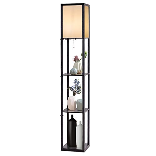 Costzon Three-Drawer Shelf Floor Lamp w/3 Storage Shelves, 63 Inch Height, Switch on/Off, ETL Approved, Linen Shade, 63