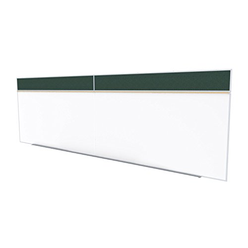 Ghent 5 x 16 Feet Combination Board, Porcelain Magnetic Whiteboard and Vinyl Fabric Bulletin Board, Ebony , Made in the USA by Ghent