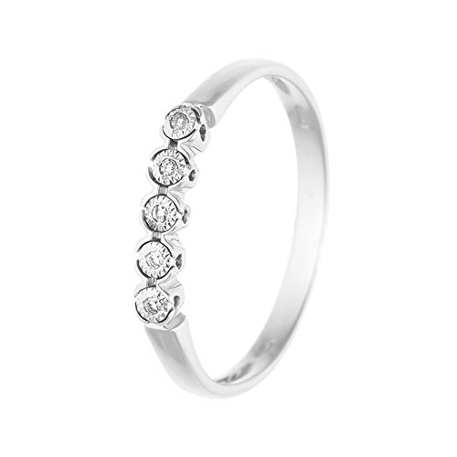 & You - Anneau - Or Blanc 9 cts - Premium - Diamant 0.03 cts - T48 - AM-9BG RIV-ILL-010/48
