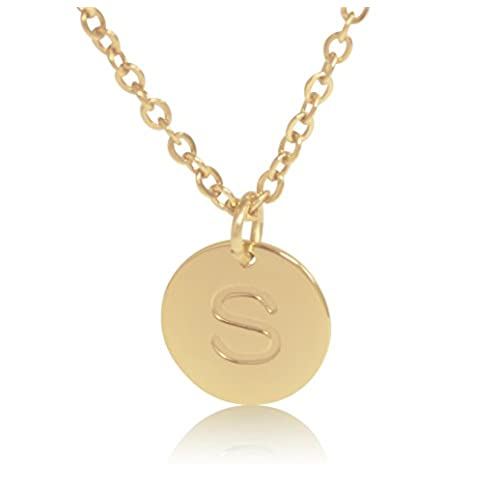 S necklace amazon 18k gold plated round disc engraved initial pendant 18 adjustable necklace with personalized alphabet letter s aloadofball Choice Image