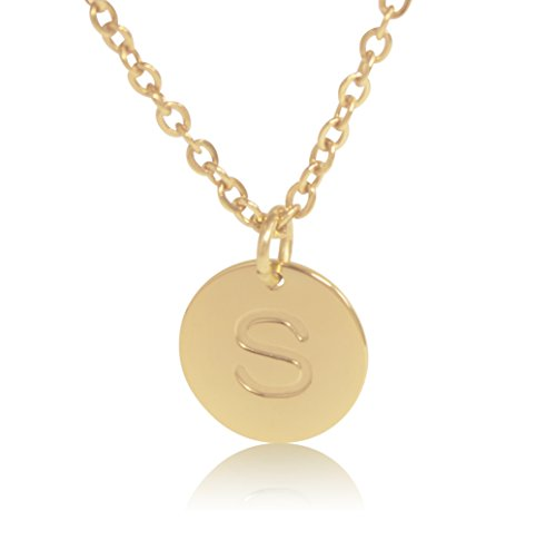 """18K Gold-Plated Round Disc Engraved Initial Pendant 18"""" Adjustable Necklace with Personalized Alphabet Letter ()"""