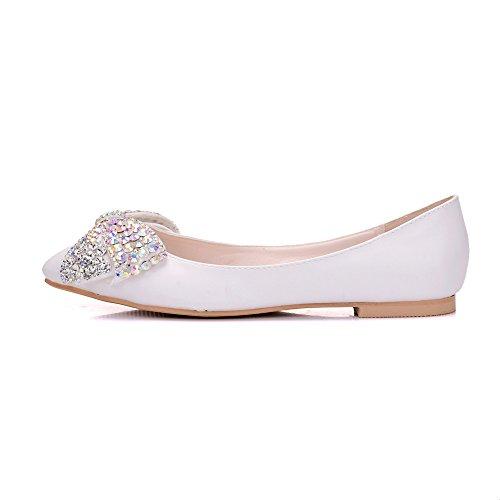 único mujer los Taladro partido agua femeninos calzado de zapatos 40 plano la zapatos zapatos versátiles cabeza de Pajarita de white blanco elegante superficial que boca y de YRvYq