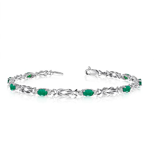 Jewels By Lux 14K White Gold Oval Emerald and Diamond Bracelet ()