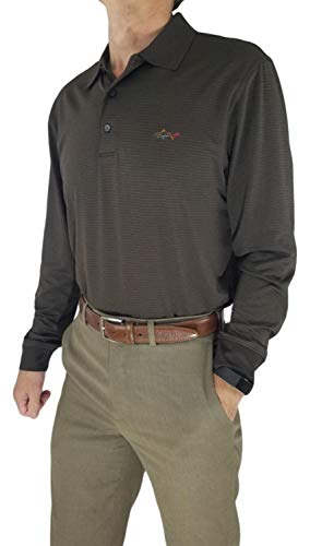 - Greg Norman Play Dry Long Sleeve Stripe Performance Golf Polo (Large, Brown)