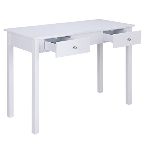 Giantex Vanity Table with Flip Top Mirror with 2 Drawers 1 Removable Organizer Dressing Table Vanity Table, White by Giantex (Image #3)