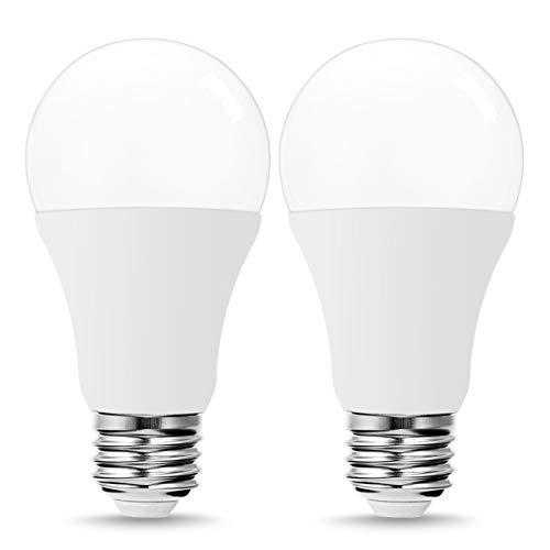 TechgoMade LED Radar Motion Sensor Dusk to Dawn Light Bulbs, 60W LED Equivalent(9W), A19 LEDs Indoor Outdoor Bulbs Warm White 2700K, Porch Garden Lighting, Security Bulb Lights for Home Bulb, 2 Pack